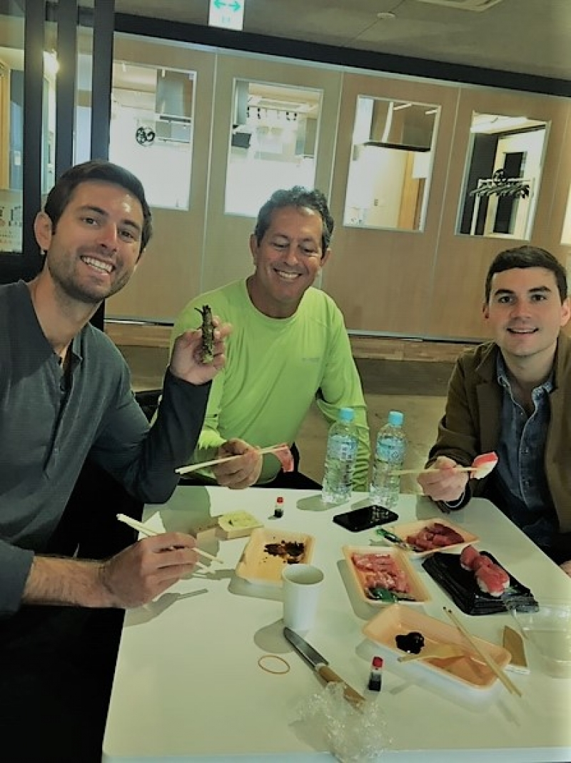 A wonderful family from Florida, the U.S.A. enjoying Tuna tasting with a real wasabi root, Feb. 2019.