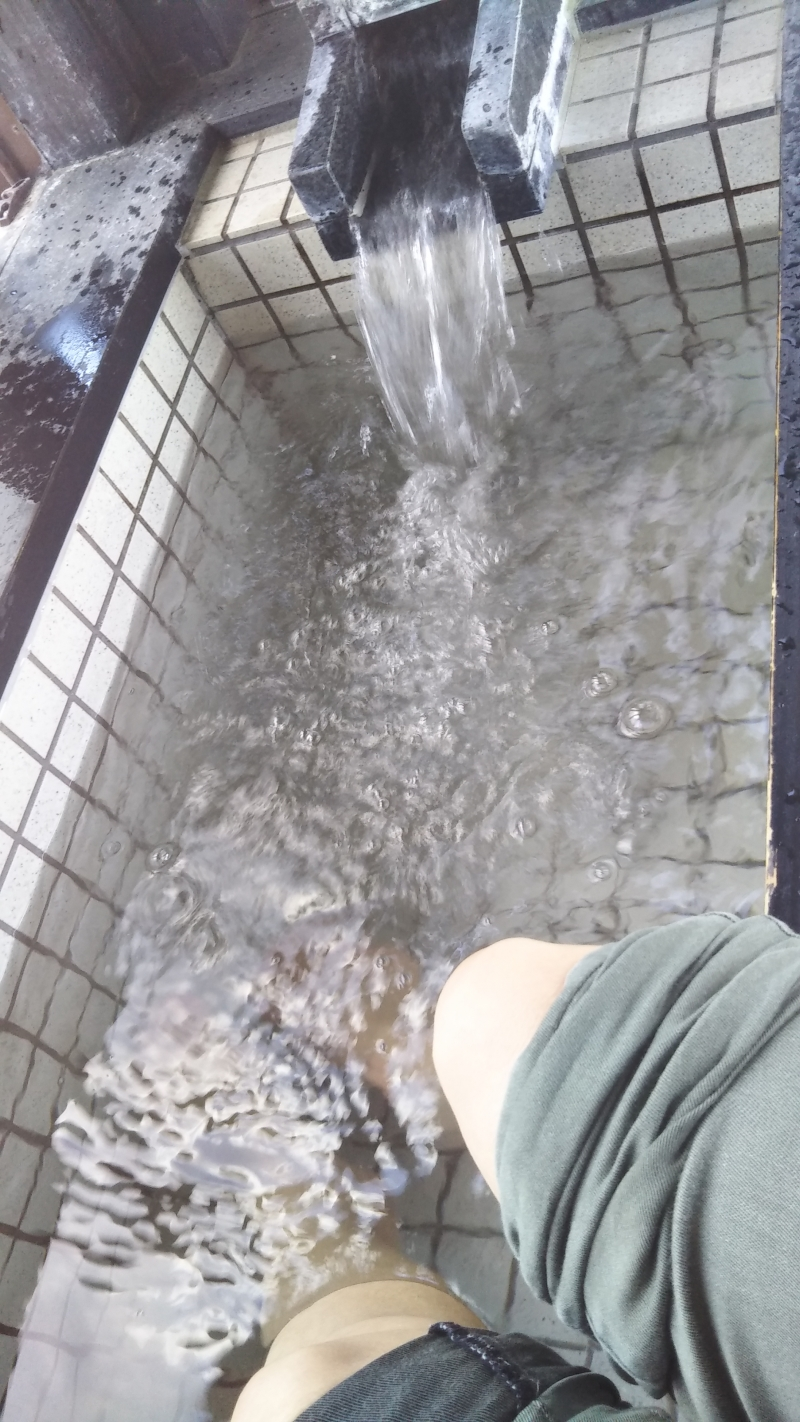 Natural hot spring foot bath. You will come to know why Japanese love ONSEN so much.
