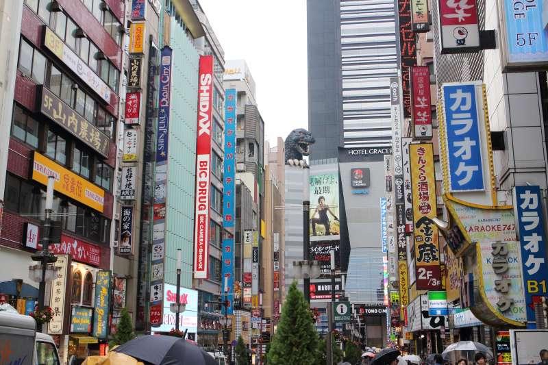 A Gigantic Godzilla figure from Shinjuku Toho Building in Kabukicho