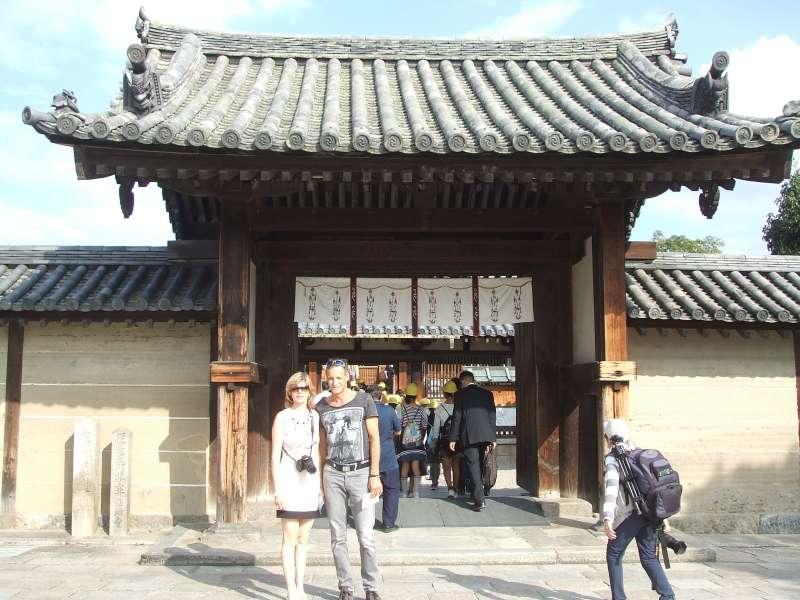 In front of Hall of Visions (Yumedono), Horyu-ji Temple, Nishino kyo, Nara