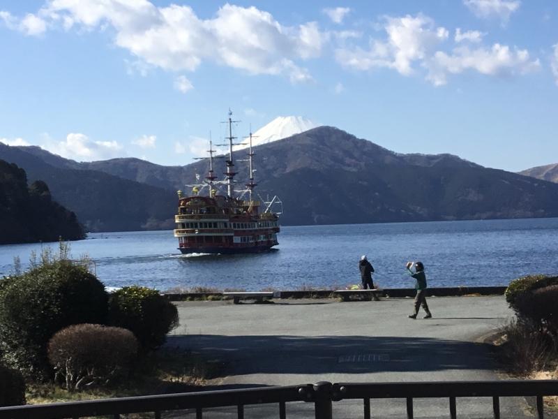 Enjoy riding of sightseeing boat in Ashinoko-lake