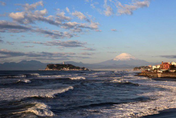 Enoshima Island and Mt. Fuji in the sunset