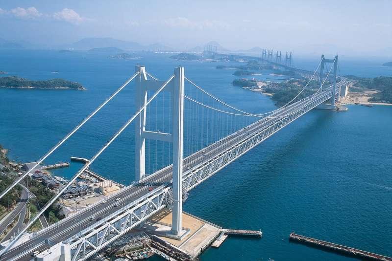 Seto Ohashi Bridge, connecting the main island of Japan (Honshu) and Shikoku. The bridge crosses the beautiful Seto Inland Sea.
