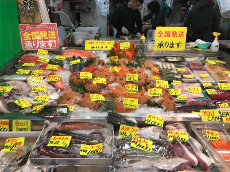 Fresh sea food at Tsukiji market
