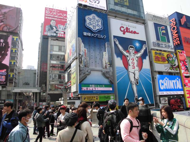 Dotonbori street with billboard of Glico, etc.