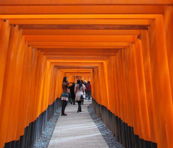 Senbon torii or one thousand shrine gates at Fushimi Inari Shrine