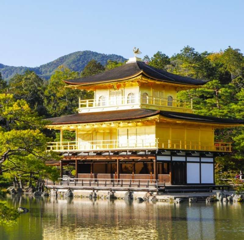 Golden Pavilion (Kinkaku) seen across the pond and the image reflected on it