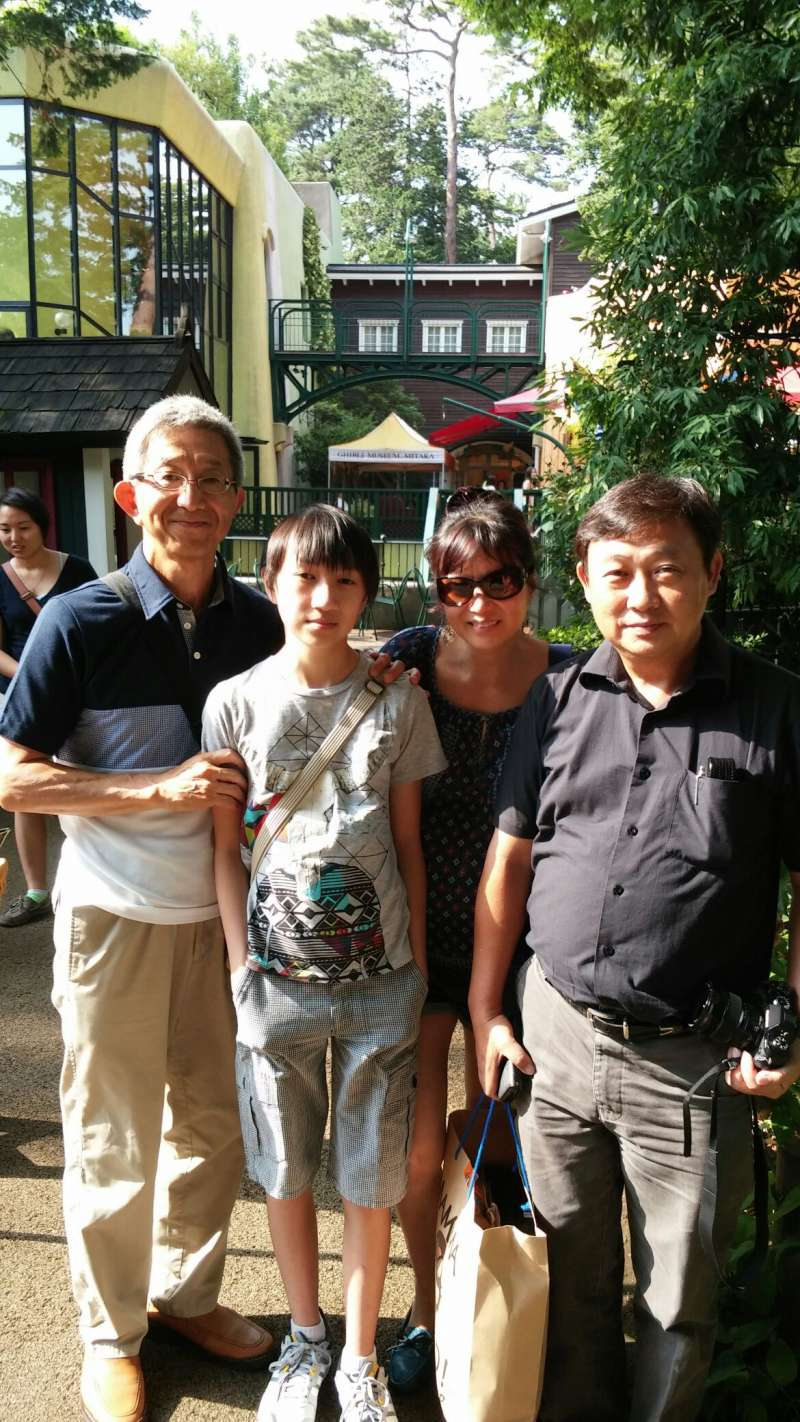 With guests at Inokashira park