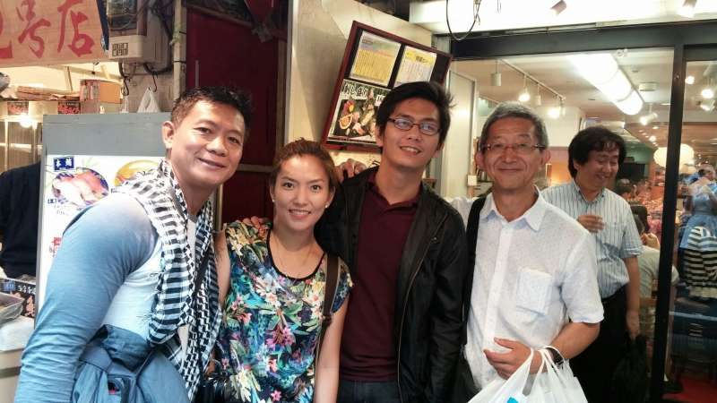 With guests at Tsukiji market