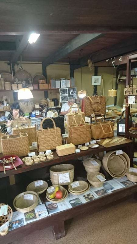 Take-kobo, a bamboo studio. There are a lots of hand-made bamboo producs displayed and on sale.
