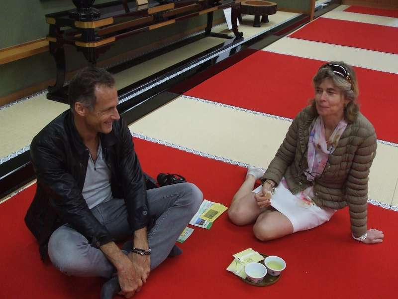 A tea break in Kongobuji temple on tatami mat floor, Koyasan, Wakayama