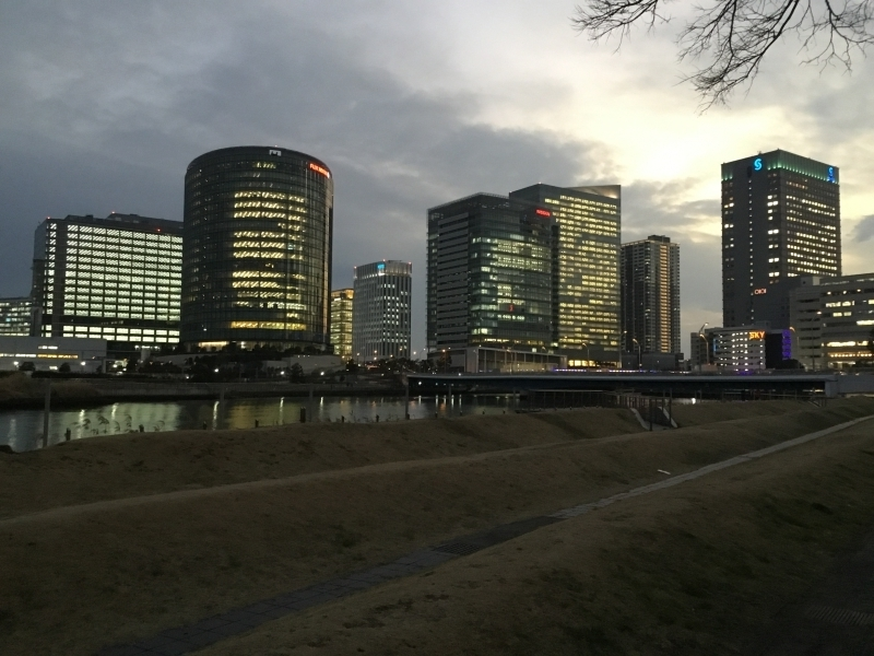 The night view in Business districts.
