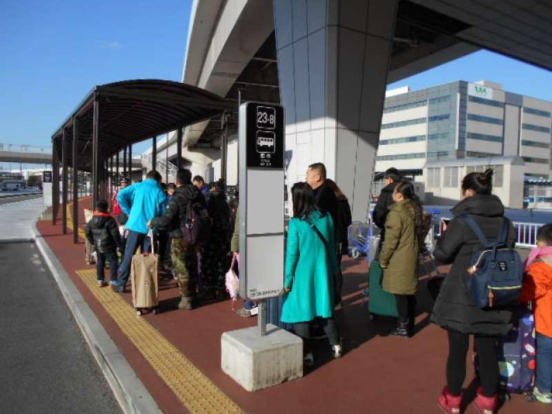 bus/ van parking area of Narita Airport meet place