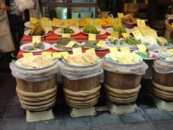 A vegetable pickle shop at Kuromon market