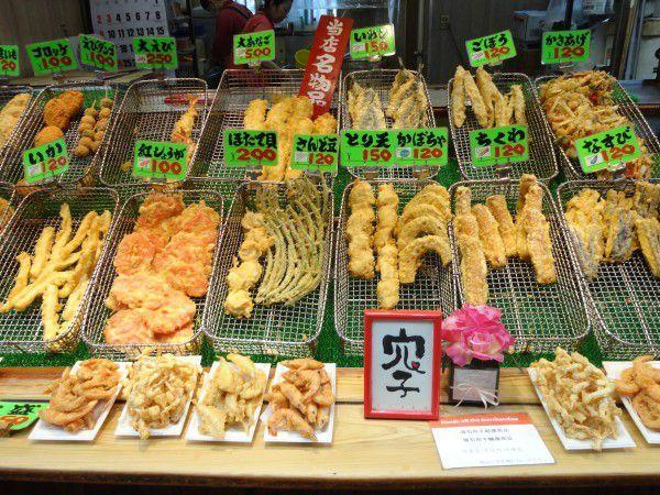A tempura shop at Kuromon market