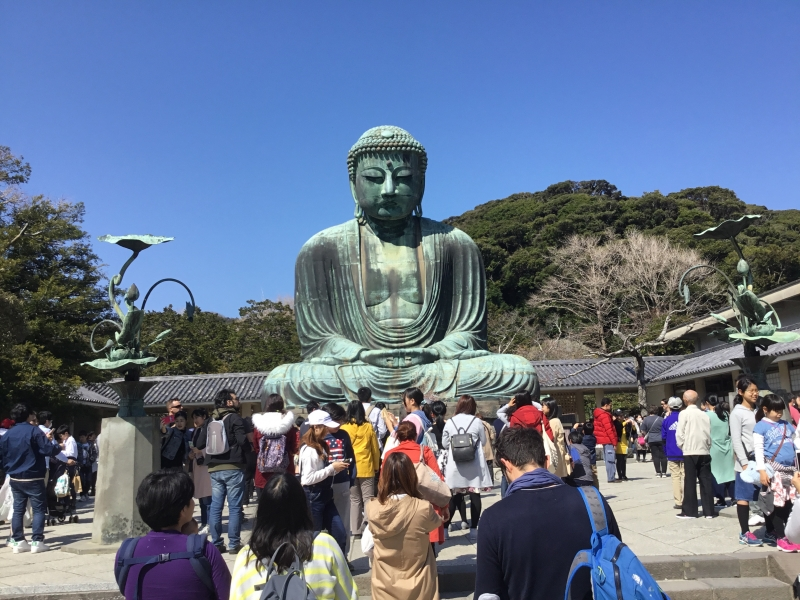 Great Buddha statue was completed to be built up in 1273 and it has been open air from 15th century up to now.
