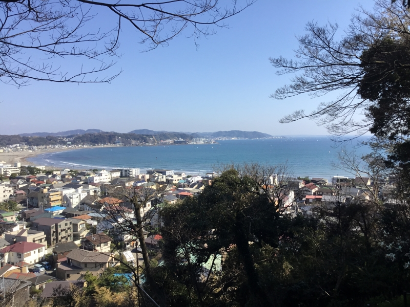 Beautiful landsacape of Yuigahama beach and sea of Shonan from the height of Hase temple