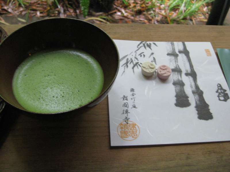 You can taste Japanese powdered green tea and some sweets in the bamboo forest.