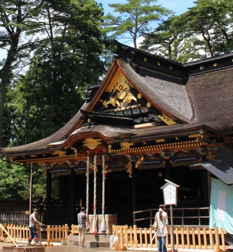 The main building of Osaki Hachimangu Shrine.