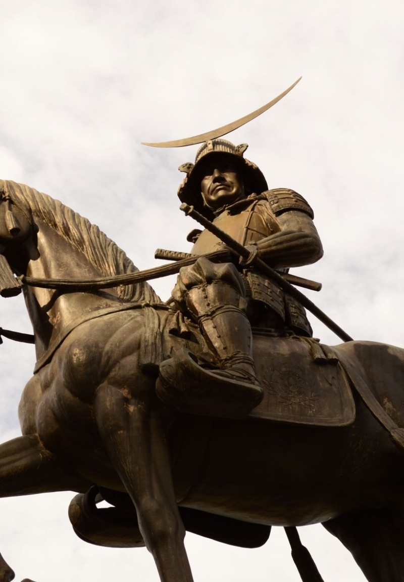 The statue of Date Masamune is a symbol of Sendai Castle Site.