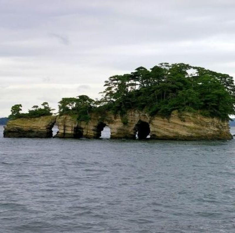 Islands on Matsushima Bay have unique shapes. They were created an erosion by wind and waves in a long time.