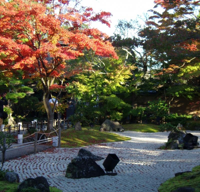 Japanese style garden of Entsuin Temple in autumn.