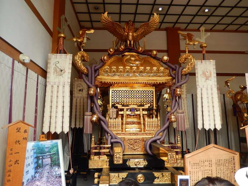 A gorgeously decorated portable shrine