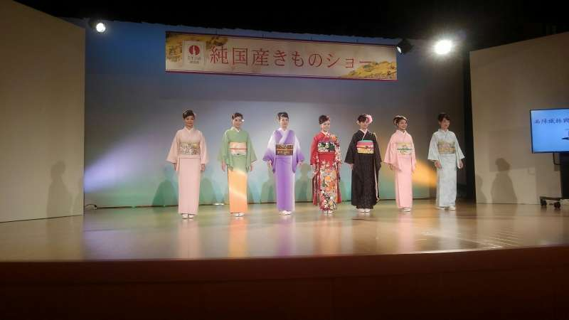 Kimono show at Nishijin textile center