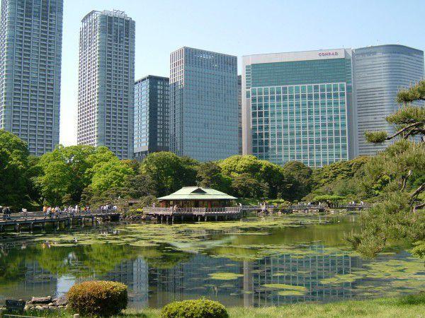 Hamarikyu Garden - an interesting contrast with Japanese Garden and some skyscrapers