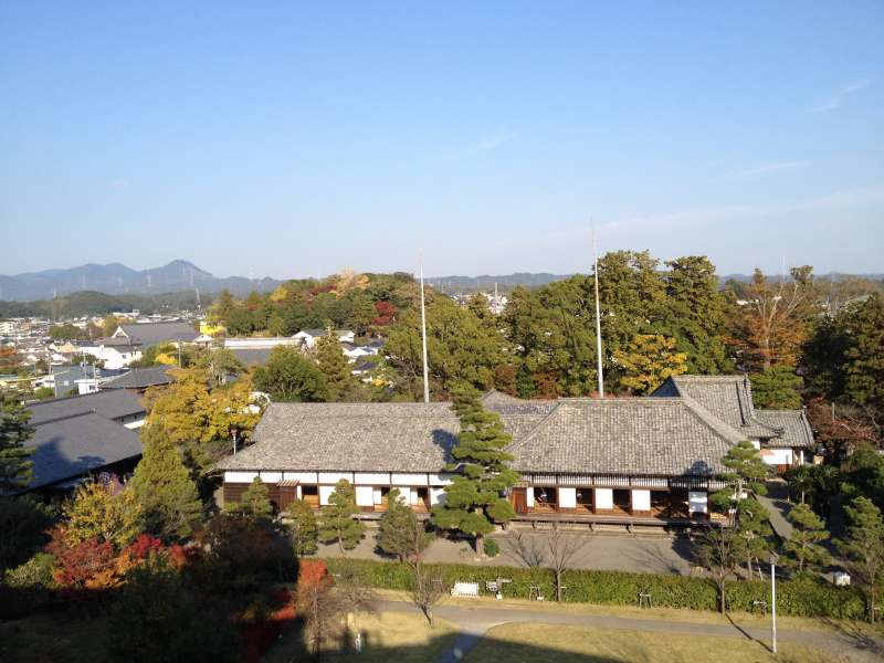 Looking down at the Ninomaru Palace and the city of Kakegawa from the castle tower