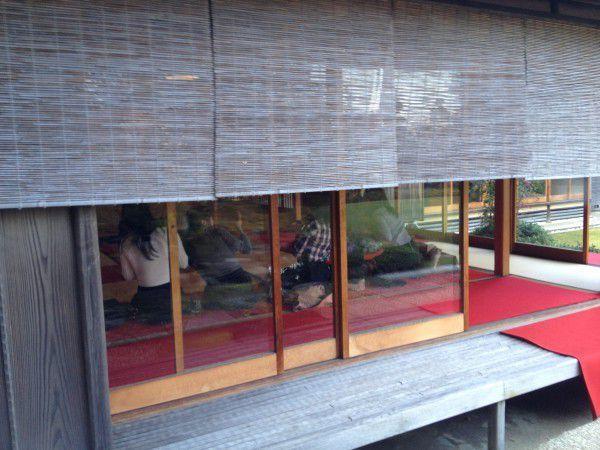 Enjoying local green tea at the Japanese style tea house