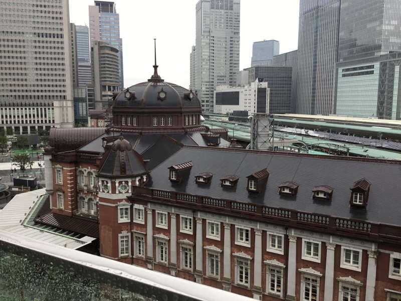 Tokyo station built of deep red brick.
