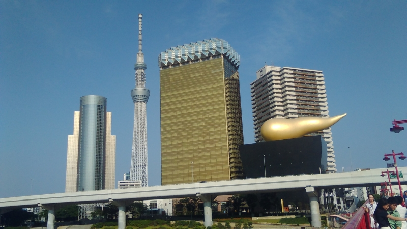 Outstanding architecture lined up beyond the Sumida-river