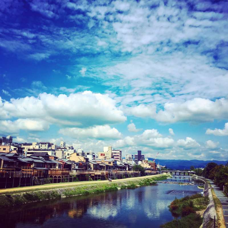 View of Kamo River, going through the center of Kyoto