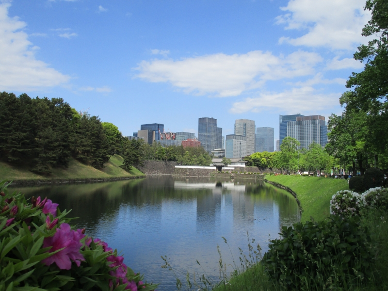 Moat of the Imperial Palace and the business district near Tokyo Station