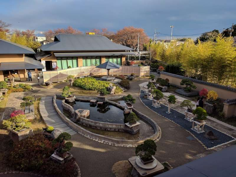 This is the garden of Bonsai museum .  The building  is Bonsai museum . You can learn how to cultivate Bonsai trees there. This photo is from 2nd floor of the rest house.