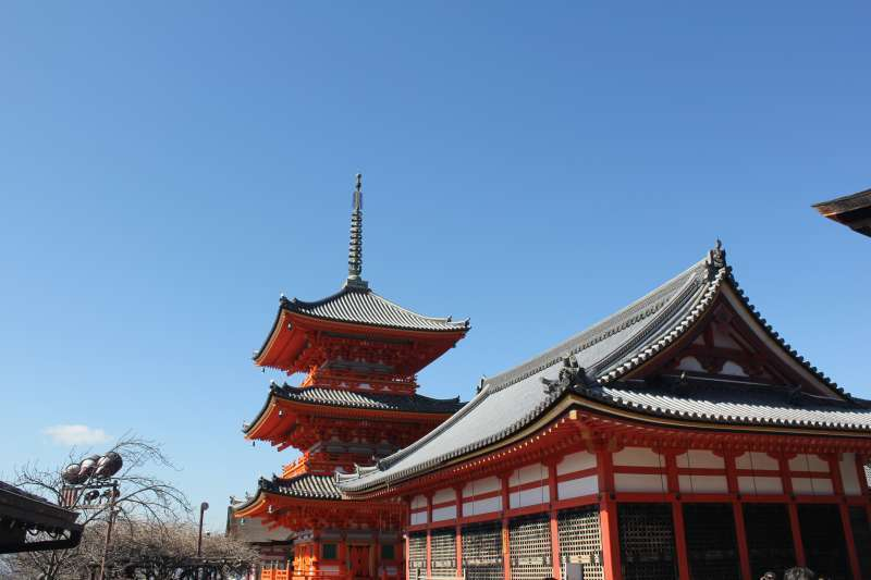 Three story pagoda and kyo-do or a repository of the Buddist Sutras.