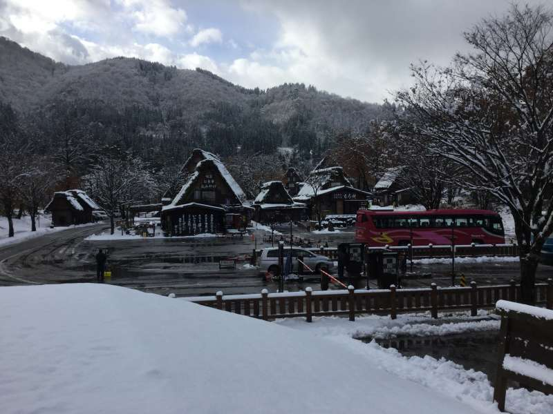 Arriving at Shirakawago by the bus