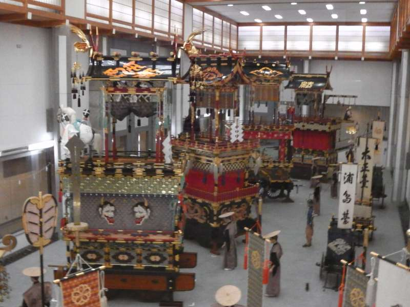 Display of floats for Takayama festival at the Festival Museum