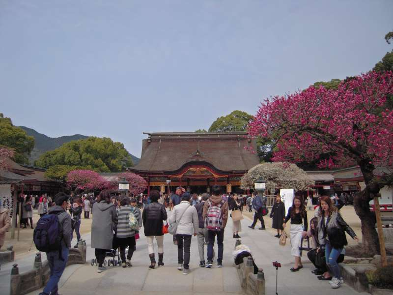 The shrine is dedicated to Sugawarano Michizane who lived in the Heian period(9-10th C).