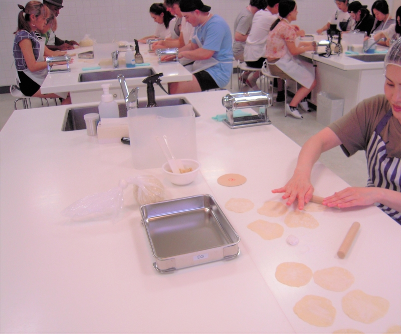 You also get to learn how to make Gyoza dumplings, it is pretty difficult to make round shape...