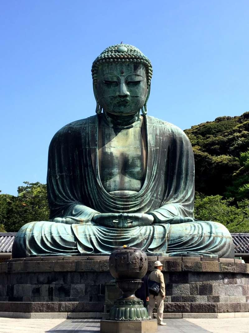 The statue commonly known as Kamakura Daibutsu (Great Buddha of Kamakura),