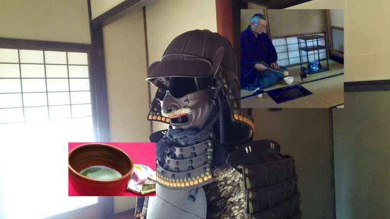 It's a footage of the tea gathering in Sankei-tei(tea ceremony house) in the Samurai town,where you can have a bowl of  powered green tea served by the Kimono wearing local tea master!!(See the video of the actual footage!!)