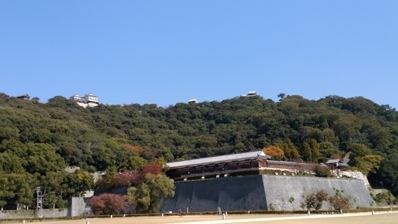 Matsuyama Castle keep and the second bailey in autumn.
