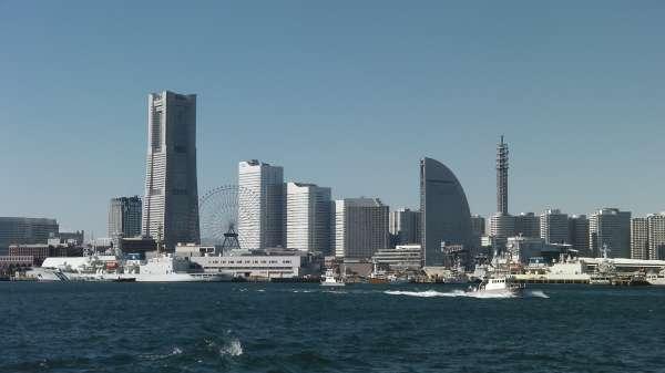Skyscrapers of Yokohama bay area named