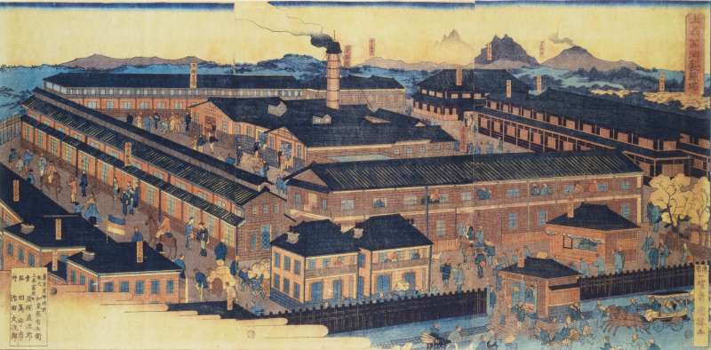 This photo shows Tomioka Silk Mill plant painted which had just started in 1872.
