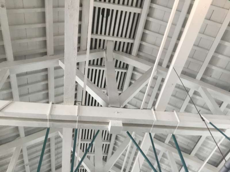 This architectual method called truss structure is to combine the timber with triangle shape.