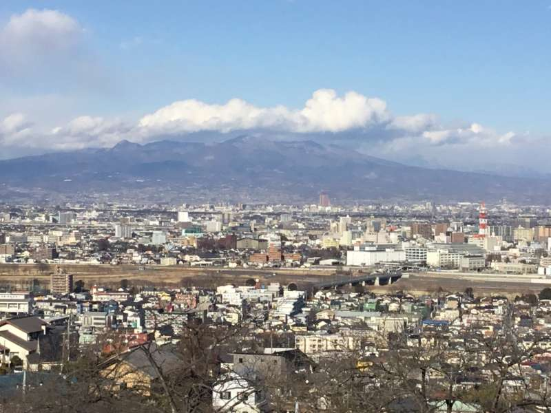 View of Takasaki-city, Jyomo-sanzan and a chain of mountains from Kannon statue