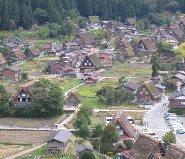 a view of village from observatory in summer