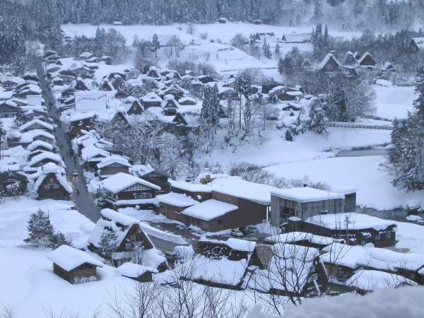 a view of village from observatory in winter